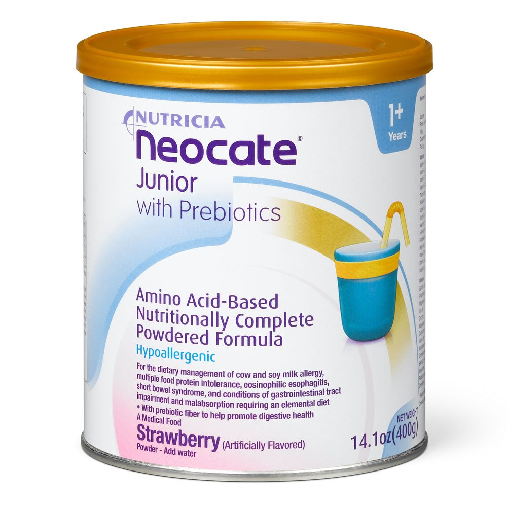 Neocate Junior with Prebiotics, Strawberry, 14.1 oz / 400 g (Case of 4 cans) by Neocate