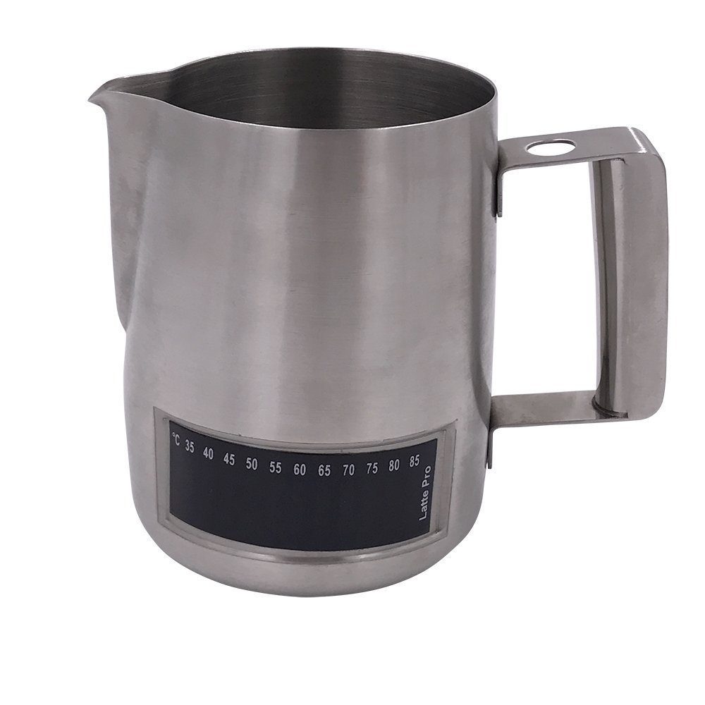 Wingkin Stainless Steel Frothing Milk Pitcher with Thermometer Milk Steaming Cup Bonus 3 Small Silicone Marking Rings 16 oz For Frothing Milk