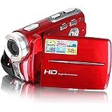Caméscope HD Besteker 1280x720p Caméra Vidéo Numérique Portable DV Max 20,0 MegaPixels 16x Zoom Numérique avec 3,0 Pouces Ecran LCD TFT,Rouge