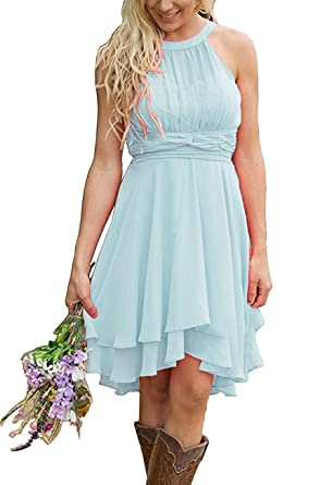 4b86597f2a2d Meledy Women's Country High Low Halter Chiffon Bridesmaid Dress Western  Wedding Guest Dresses Short Maid of