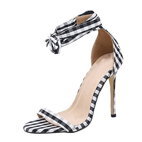 fb73523fdcb Women Plaid Printed Roman Lace-up Sturdy High Heel Stiletto Shoes Pointed  Toe Sandals (