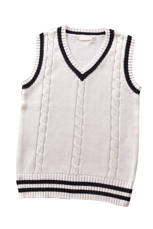 Women Knit Sweater Color Block Vest Retro Style Ringer Jumper Top