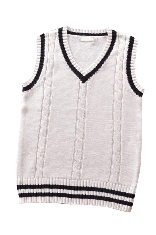 Women's Knit Sweater Color Block Vest Retro Style Ringer Jumper Top White XS