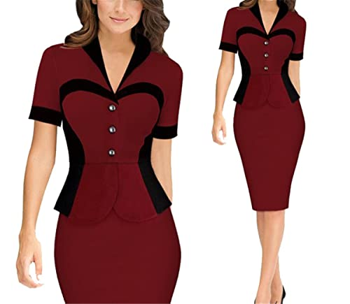 Allonly V-neck Lotus Leaf Wear to Work Business Bodycon Pencil Dress Suit Party Cocktail