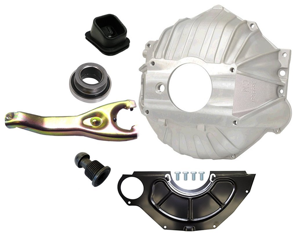 NEW SWS CHEVY 621 ALUMINUM BELLHOUSING, FLYWHEEL INSPECTION COVER, THROWOUT BEARING, CLUTCH FORK, CLUTCH FORK BOOT & PIVOT BALL, STAMPED WITH #GM 3899621, FOR SBC & BBC 11'' MANUAL CLUTCH APPLICATIONS