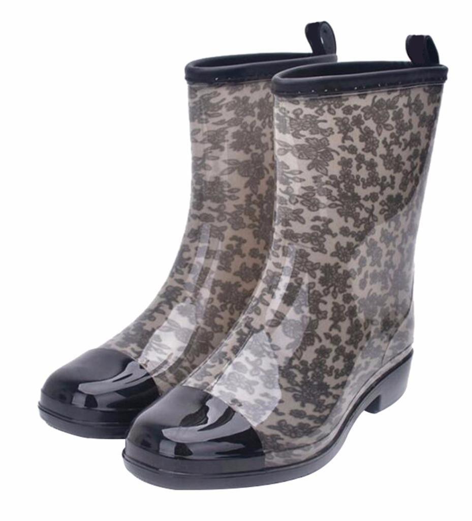 Jiu du Women's Block Heel Waterproof Rain Boots and Garden Round Toe Fashion Rain Shoes B07CLKFXMQ US5/CN36/Foot long 23cm|Grey Pvc