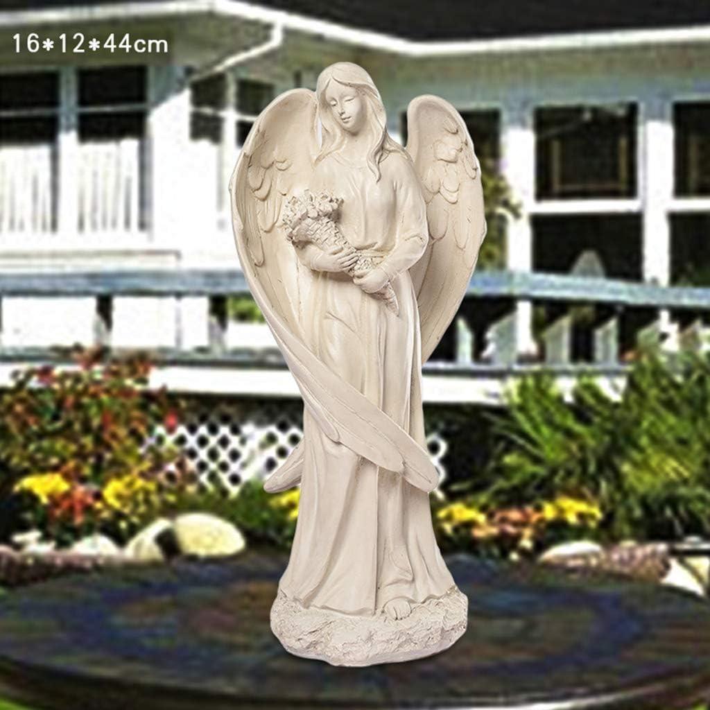 QAZWSXD Statue de Jardin Statue de Jardin Petite f/ée Elfe Blanche Statue Ange de la Paix r/ésine Blanche