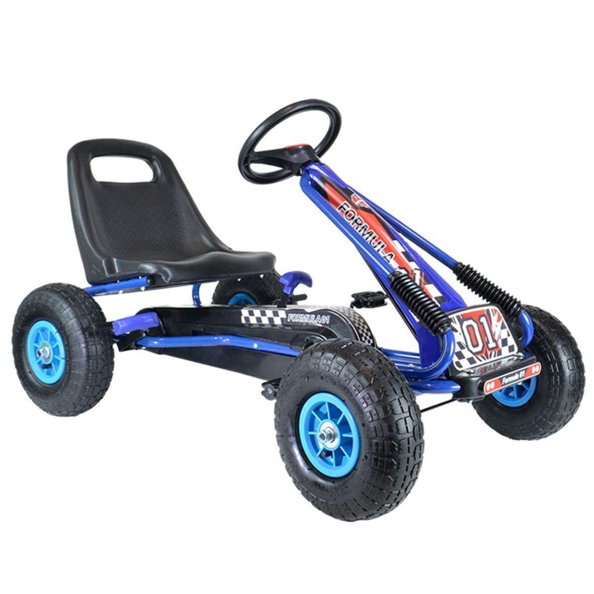 Kiddo by Raygar Racer - Kart de Pedales para niños (Asiento Ajustable, Ruedas de Goma para niños de 4 a 8 años), Color Azul: Amazon.es: Juguetes y juegos