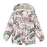 Kehen Kids Girls Rainbow Pattern Long Sleeve Hoodie Coat Jacket Windbreakers Outerwear (Multicolor, 4T)
