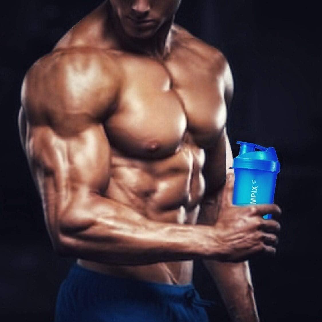 Coctelera para proteínas con bola, 500 ml, segunda generación, transparente, portátil, 3 en 1, botella de agua, botella de gimnasio, tapa medidora, ...