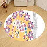 Gzhihine Custom round floor mat Cartoon Thai Baby Elephant Kids Decor Colorful Natural Wildlife Animal Prints Bedroom Living Room Dorm Decor