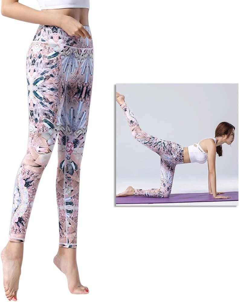 Crystal Flower S VOSAREA 1pc Mujeres Deportes Cintura Leggings Slim Fitness Pantalones de Secado r/ápido Deportes Gimnasio Yoga