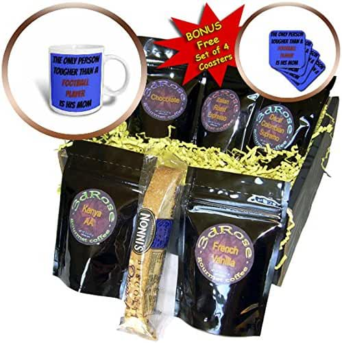 3dRose Xander inspirational quotes - The only person tougher than a football player is his mom - Coffee Gift Baskets - Coffee Gift Basket (cgb_253903_1)