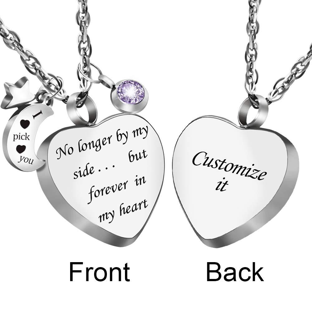 Dletay Engraving Cremation Urn Necklace with 12 Birthstones Heart Memorial Keepsakes Pendant Ashes Jewelry by Dletay