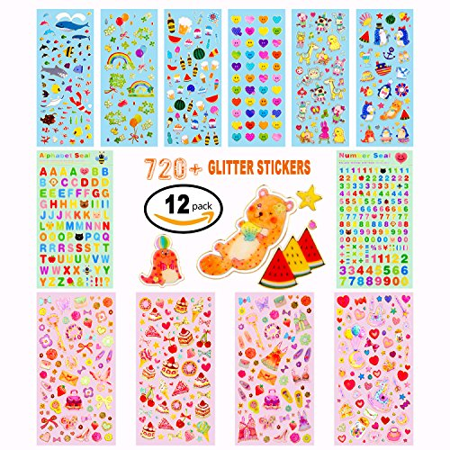 Stickers For Kids,12 Different Sheets Kids Stickers (720+Count),Glitter Stickers, for Parents,Teachers,Diy Stickers For Scrapbook,Gift,Including Smiley Faces,Rainbow,Animals,Stars,Cakes And More