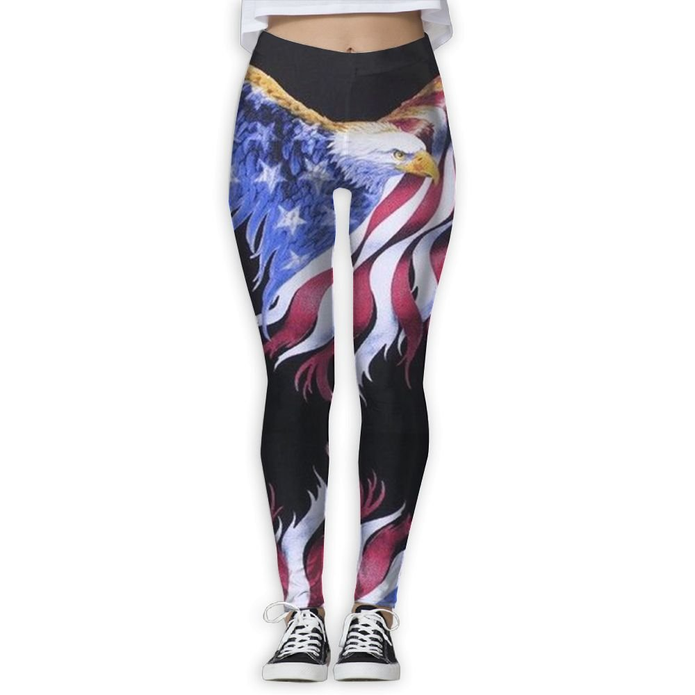 3bbe2d0963f0b6 JHIKFYU Flying American Flag Eagle Printing Compression Leggings Pants  Tights for Women S-XL at Amazon Women's Clothing store:
