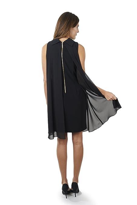 Joseph Ribkoff Black Semi-Sheer A-line Sleeveless Dress Style 163261 at Amazon Womens Clothing store: