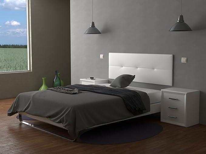 LA WEB DEL COLCHON Cabecero de cama tapizado acolchado Julie 160 x 55 cms. Para camas de 135, 140, 150 y 160 cms. Polipiel color Blanco.