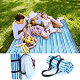 Pumpkin Town Picnic Blanket Waterproof Extra Large Handle Shoulder Strap, Blue White Stripe, Outdoor Blanket Waterproof Backing Family Concerts, Camping, Beach, Park 71'' X 59''