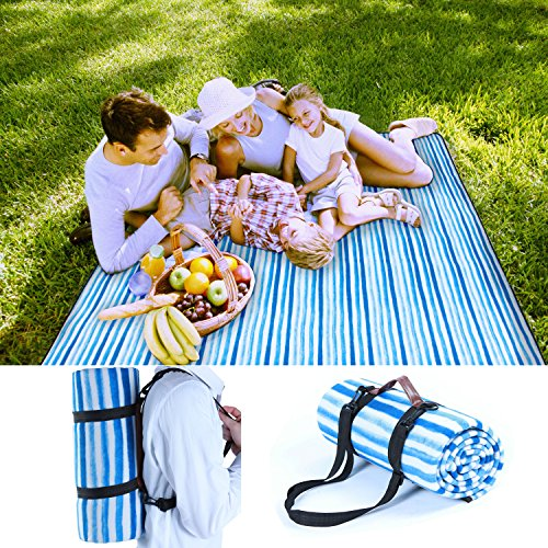 Pumpkin Town Picnic Blanket Waterproof Extra Large Handle Shoulder Strap, Blue White Stripe, Outdoor Blanket Waterproof Backing Family Concerts, Camping, Beach, Park 71'' X 59'' by Pumpkin Town