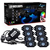 MICTUNING RGB LED Rock Lights with Upgraded APP Bluetooth Controller, Timing Function, Music Mode - 8 Pods Multicolor Neon LED Light Kit