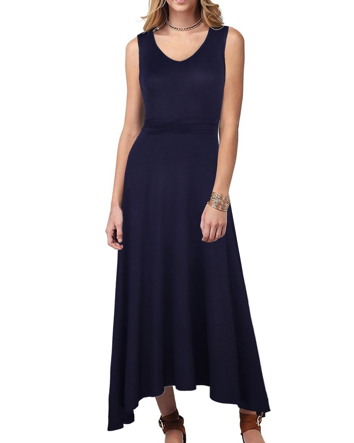 OUGES Women's V Neck Sleeveless Summer Casual Long Maxi Dresses(Navy,S) ¡­ by OUGES (Image #1)