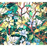 BESTERY Decorative Retro Window Film Frosted Window Stickers Stained Glass Window Film Window Clings No-glue Self Static Cling for Home Bedroom Bathroom Kitchen Office 17.7 by 78 Inches (Multi-green)