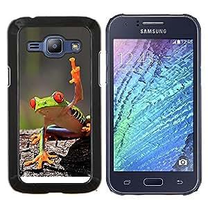 EJOOY---Cubierta de la caja de protección para la piel dura ** Samsung Galaxy J1 J100 ** --Fresco de la rana verde de la selva de la criatura