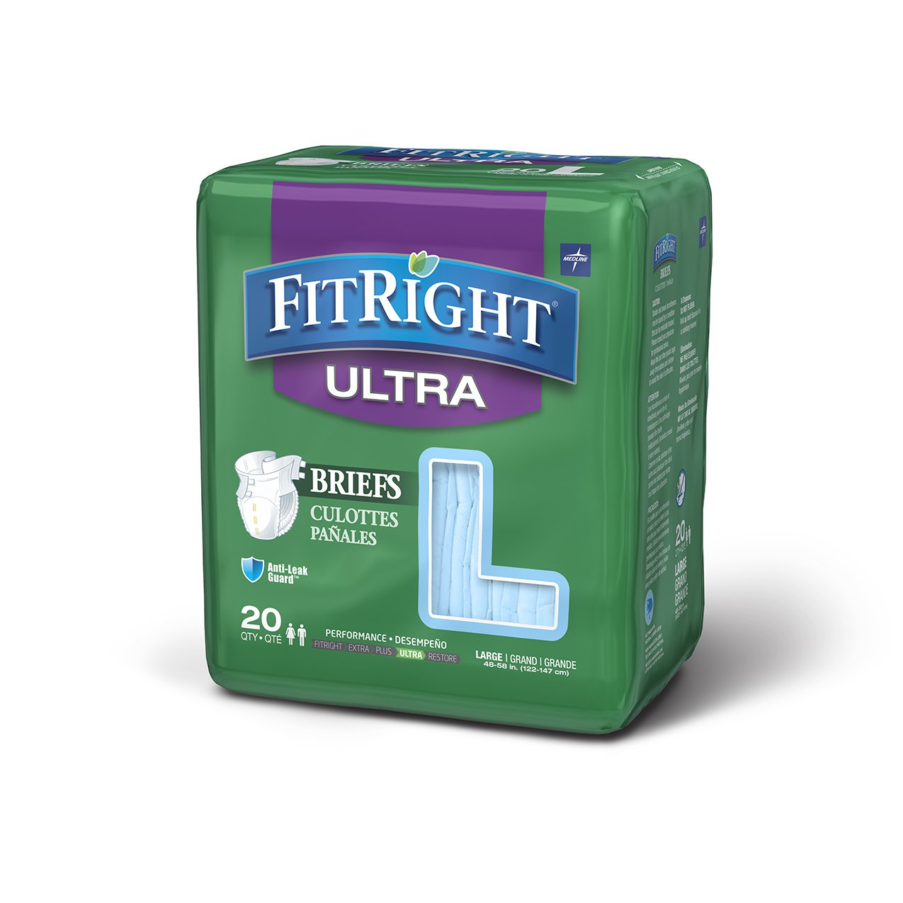 FitRight Ultra Adult Briefs with Tabs, Heavy Absorbency, Large, 48