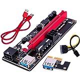 LDGG PCI-E Riser adaptador de cartão 16X para 1X 6 pinos Cabo de alimentação SATA GPU Riser 60 cm Cabo de extensão USB 3.0 PC
