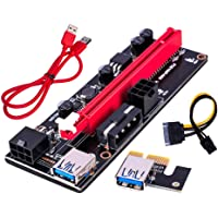 LDGG PCI-E Riser adaptador de cartão 16X para 1X 6 pinos Cabo de alimentação SATA GPU Riser 60 cm Cabo de extensão USB 3…