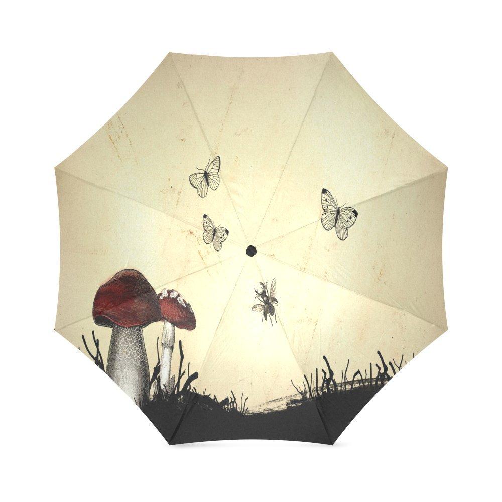 カスタムMushroomsコンパクト旅行防風防雨折りたたみ式傘 B075R8T834