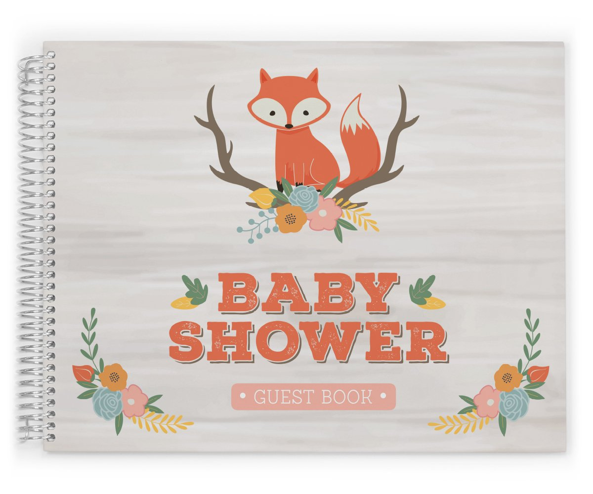 Cute Baby Shower Guest Book, Baby Shower Guestbook, Sprinkle Guest Book, Animal Theme GuestBook, Cute Fox