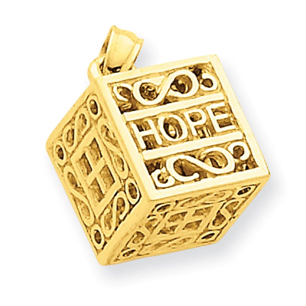 14k Yellow Gold Faith & Hope Prayer Box Charm D986