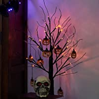PEIDUO 2FT Halloween Black Tree Battery Powered with 24 Orange Lights and Pumpkin Ornaments Light Up Bonsai Tree for…