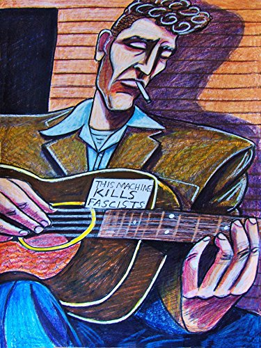 Woody Guthrie Print Poster art gibson acoustic folk guitar dust cd lp bowl vinyl