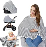 Baby Nursing Cover - Multi Use Breastfeeding Cover for Baby Carseat, 100% Breathable Cotton, Lengthened Size Provide 360° Full Privacy Protection-Best Baby Shower Gift for Boy & Girl