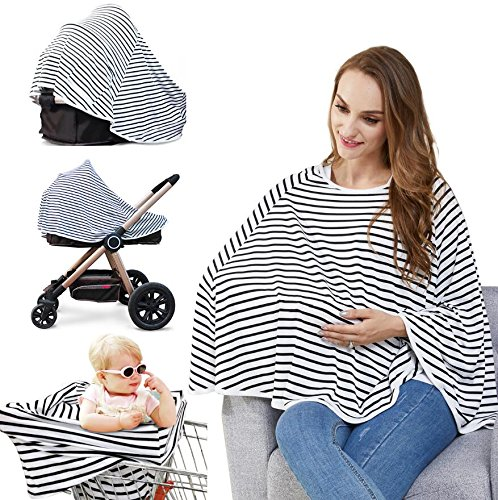 Baby Nursing Cover & Nursing Poncho – Multi Use Cover for Baby Car Seat Canopy, Shopping Cart Cover, Stroller Cover, 360° Full Privacy Breastfeeding Protection,Baby Shower Gifts for Boy&Girl By LUCINE