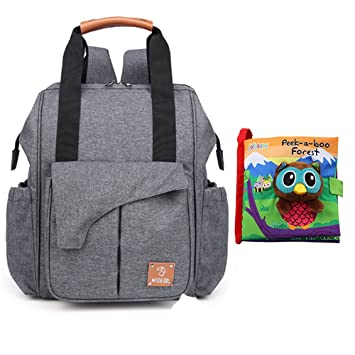934658ccc9 Amazon.com   Stylish Baby Diaper Tote Bag Backpack Multifunctional Large  Waterproof Travel Bags With Durable Baby Cloth Book Owl Cartoon Pattern  Peek-A-Boo ...