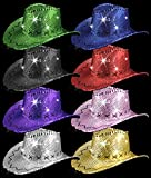 LED Sequin Cowboy Hat with Stitching - Assorted