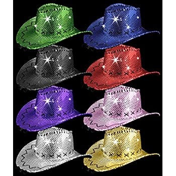 Amazon.com  LED Sequin Cowboy Hat with Stitching - Assorted  Health ... fdedd82f5ca5