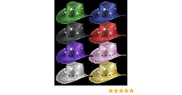 Amazon.com  LED Sequin Cowboy Hat with Stitching - Assorted  Health   Personal  Care f501e4a4c4fd