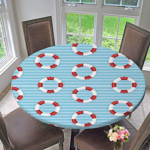 Mikihome Modern Simple Round Tablecloth Buoy Life Preserver Crisis Security Lifejacket Lifeguard Dangerous Decoration Washable 59