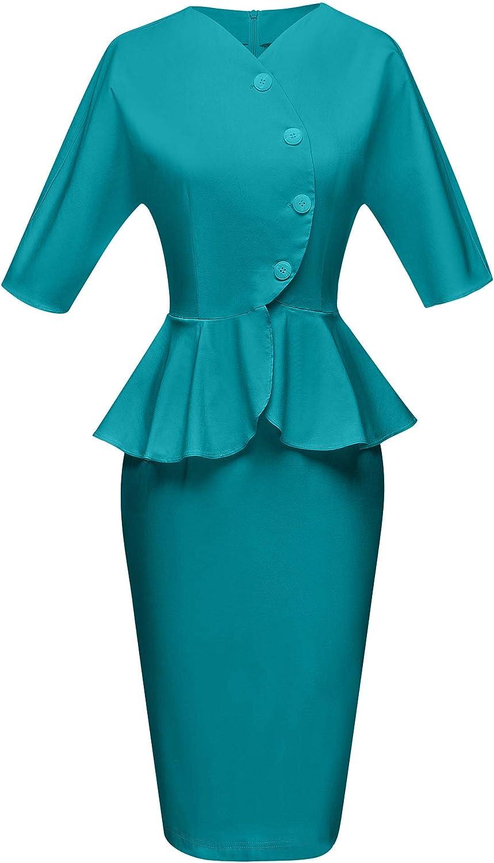 Wiggle Dresses | Pencil Dresses 40s, 50s, 60s GownTown Womens 1950s Vintage Peplum Pencil Dress $16.99 AT vintagedancer.com