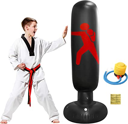 Fitness Exercise Pressure Reducing Training For Adults Children Karate Taekwondo Heavy Duty Inflatable Punching Column Sandbags Target Kick Boxing with Pump 160CM Free Standing Boxing Punch Bag