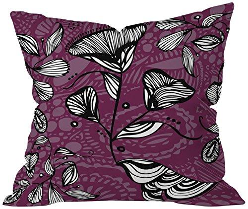 DENY Designs Julia Da Rocha Purple Funky Flowers Throw pillow, 20 X 20