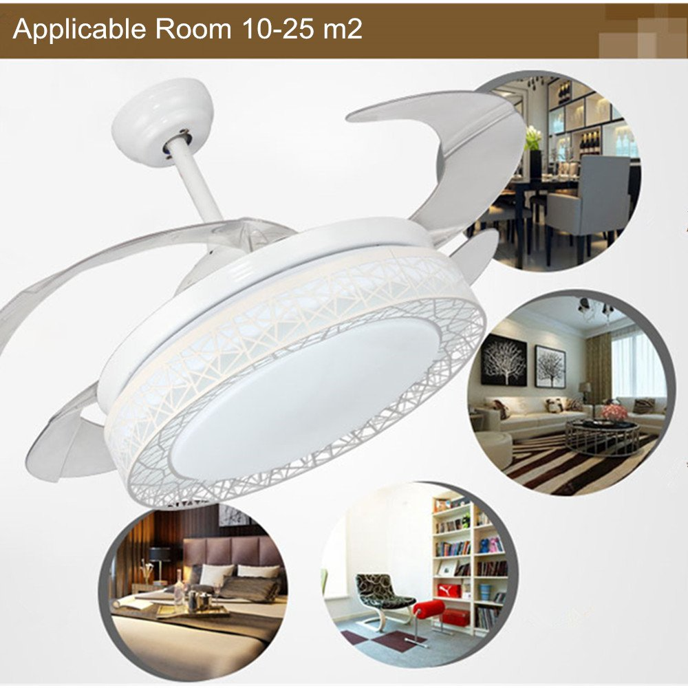 Fandian 42 Inch Ceiling Fans 4 Retractable Blades LED Ceiling Fan Three Color Change Crystal Chandelier with Remote Control White