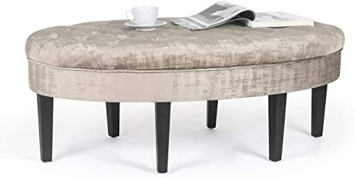 Joveco Ottoman Bench Button Tufted Fabric Oval Footstool for Bedroom Enterway Beige