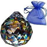 Crystal Ball Ø40mm con il sacchetto del regalo   Cristallo al piombo   Esoterismo   Feng Shui   I colori dell'arcobaleno   decorazioni delle finestre