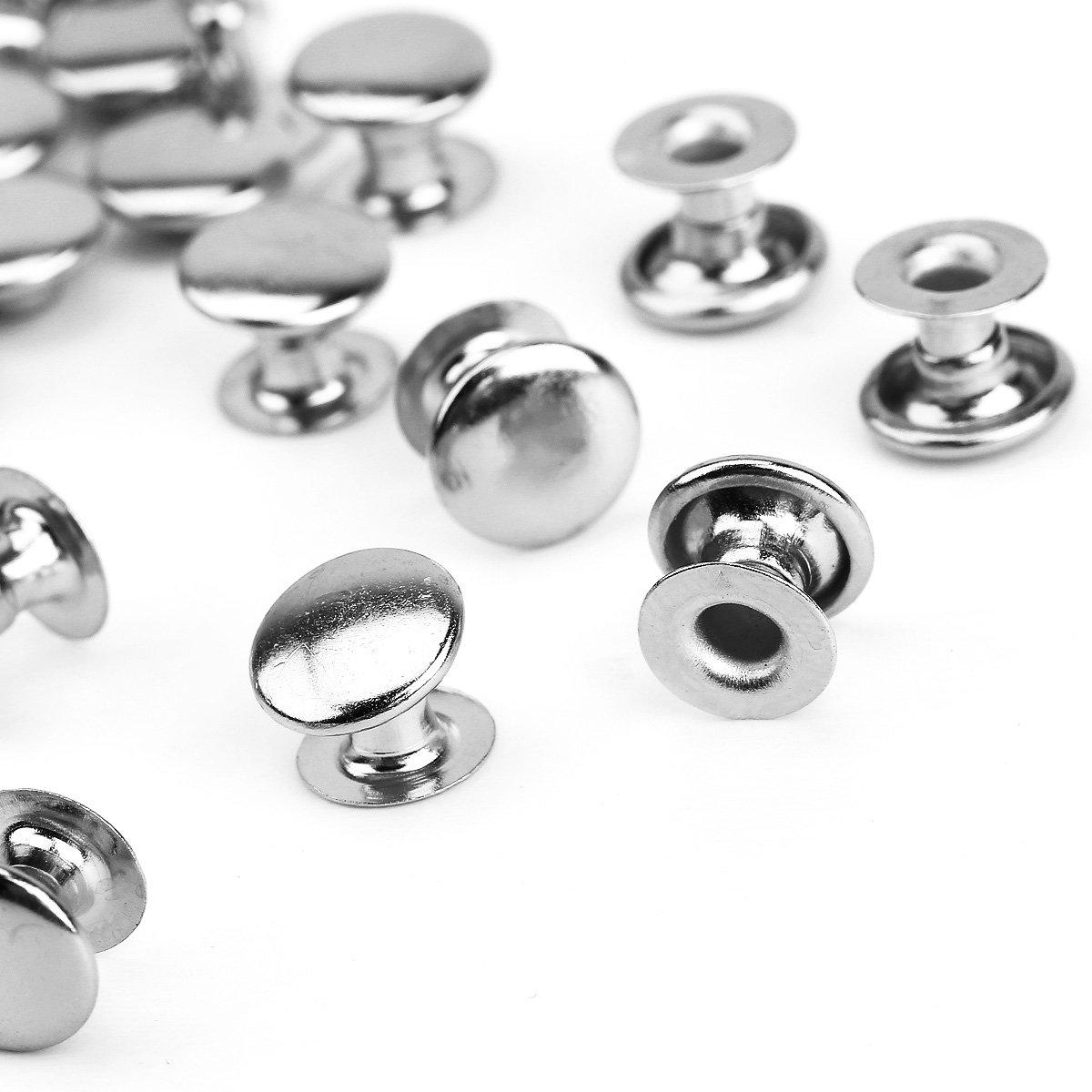 100pcs DIY rivet de chapeau clous creux 8mm argenté